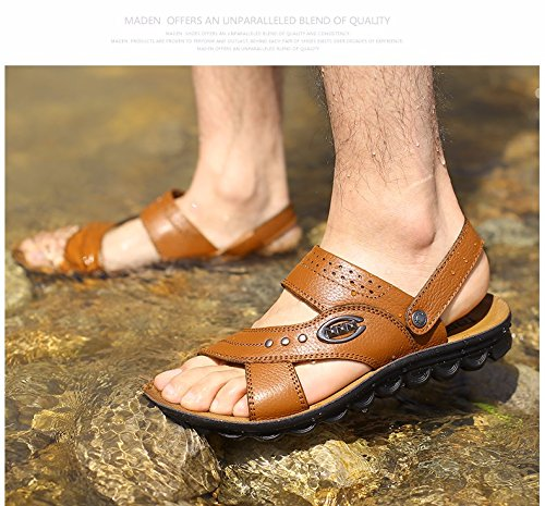 Männer Sandalen Männer Sommer Echtleder Dualer Gebrauch Strand Schuh Jugend Dicker Boden Rutschfest Atmungsaktiv Freizeit Männer Schuh ,GelbB,US=8.5,UK=8,EU=42,CN=43