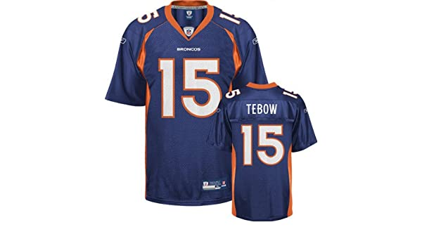 eadbc86c0 Amazon.com : Tim Tebow Jersey: Reebok Navy #15 Denver Broncos Replica Jersey  - 4XL : Sports Fan Jerseys : Clothing