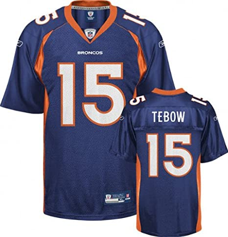 49c306090 Image Unavailable. Image not available for. Color: Tim Tebow Jersey: Reebok  Navy #15 Denver Broncos Replica ...