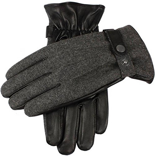 Dents Mens Guildford Wool Flannel Back Gloves - Charcoal/Black - Large