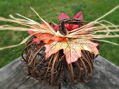 Fall Maple Leaf Grapevine Pumpkin Centerpiece- Autumn Wedding Decor- Thanksgiving Decorations for Table (Grapevine Centerpiece)