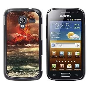 Caucho caso de Shell duro de la cubierta de accesorios de protección BY RAYDREAMMM - Samsung Galaxy Ace 2 I8160 Ace II X S7560M - Volcano Eruption Island