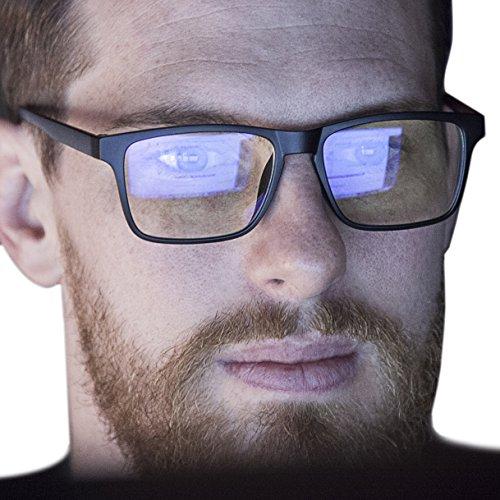 Blue Light Blocking Computer Glasses - Great for Men and Women - Square Frame (Matte Black/Matte - Matte Glare Free