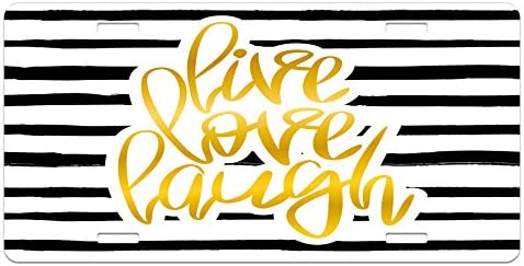High Gloss Aluminum Novelty Plate 5.88 X 11.88 Black White Earth Yellow Romantic Design with Hand Drawn Stripes and Calligraphic Text Ambesonne Live Laugh Love License Plate