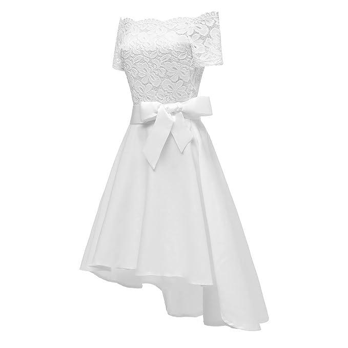 ZFFde Mini Vestido Vintage De Encaje De Mujer Audrey Hepburn con Cinturón para Vestido De Boda/Fiesta para Mujer Vestido de Moda: Amazon.es: Ropa y ...