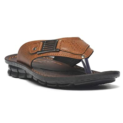 ad6954f6fdf PARAGON Men Tan Vertex Formal Flip Flops: Buy Online at Low Prices in India  - Amazon.in