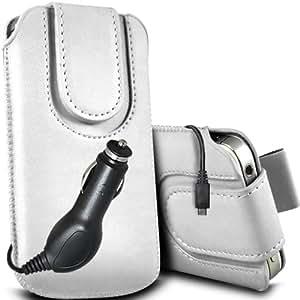 ONX3 ZTE Blade Q Maxi Leather Slip cuerda protectora magnética de la PU Pull In Pouch Case Quick Release y 12v Micro USB cargador de coche (negro)