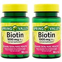 Spring Valley Biotin 1000 Mcg 300 Softgels  for Healthy Skin, Hair and Nails (2...