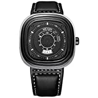 MEGIR Men's Genuine Leather Band Watch Chronograph Calendar Date Waterproof Square Business Quartz Wristwatch (Black)