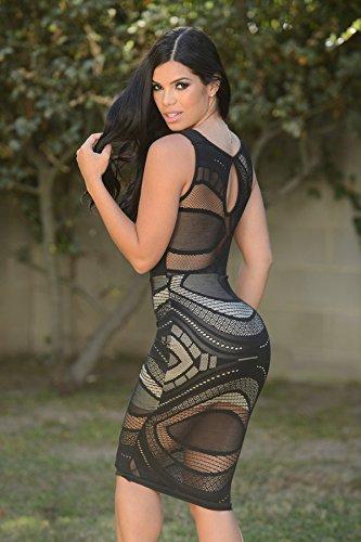 Nuevas señoras blanco y negro Sheer malla MDI vestido Club desgaste del verano Casual fiesta Mini vestido tamaño cabe UK 8–�?0EU 36–�?8