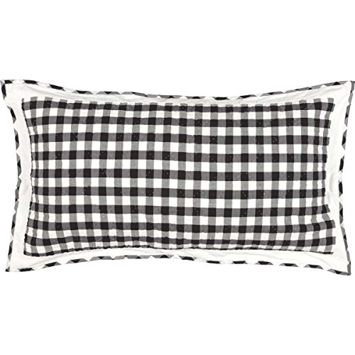VHC Brands Classic Country Farmhouse Bedding - Annie Buffalo Check White Sham King Black