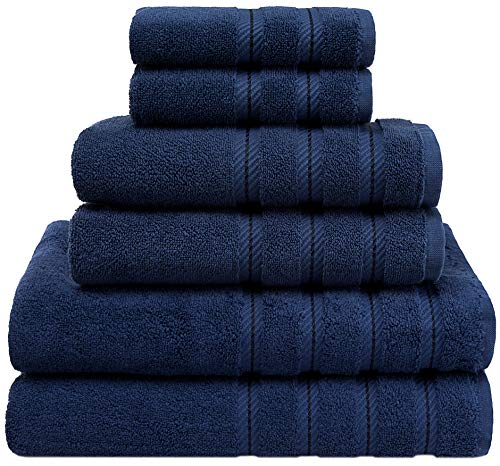 American Soft Linen 6-Piece 100% Organic Turkish Cotton Premium & Luxury Towel Set for Bathroom & Kitchen, 2 Bath Towels, 2 Hand Towels & 2 Washcloths [Worth $72.95] – Navy Blue