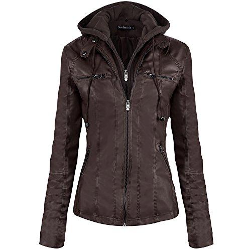 Newbestyle Women Hooded Faux Leather Jacket Hat Detachable Zipper Jacket Women Motorcyle Jacket,Dark Brown,Medium (Dark Brown Hooded Jacket)