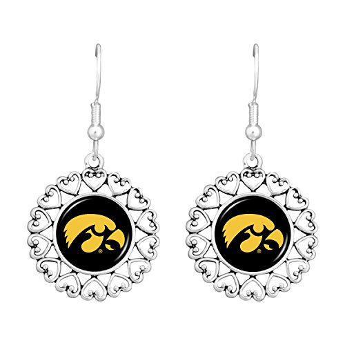 FTH Iowa Hawkeyes Logo Circle Earrings with Hearts