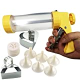 Onmexto Cookie Maker Presser Biscuit Icing Gun with 16 Disc Mold 6 Decorating nozzle 2 Baking Mould Multifunctional Cookie Tool