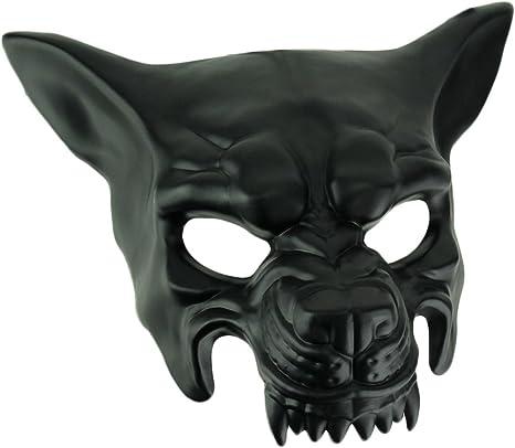 KBW Máscara de Disfraz de Lobo Muscular Negro para Adulto, para ...