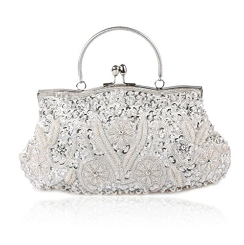 Party Evening Tote Handbag Women Prom Bags Sallyshiny Silver Bag Beads Clutch Sequins Glitter 61Uww8Rxq