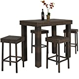 Cheap Best Choice Products 5 PC Wicker High Dining Furniture Set W/ Table & 4 Stools