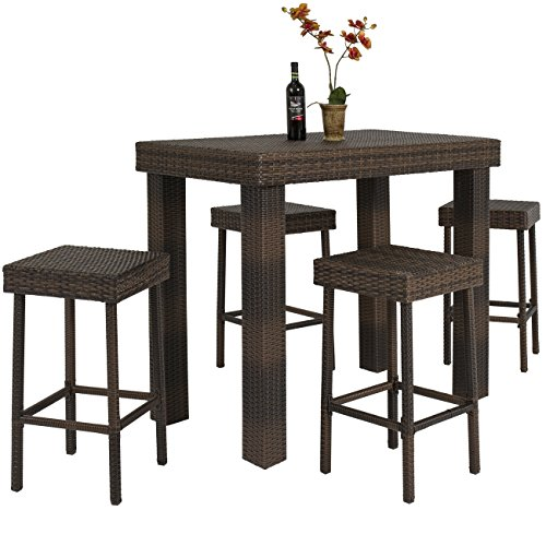 Best choice products 5 pc wicker high dining furniture set for Breakfast table set with stools