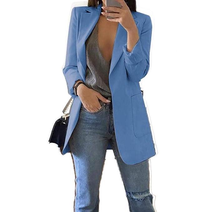 Amazon.com: UpBeauty Women Long Blazer Work Office Stretchy ...