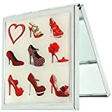 Compact Mirror 'A Girl Can Never Have Too Many Shoes' Red 2x Magnification Square Pocket Mirror