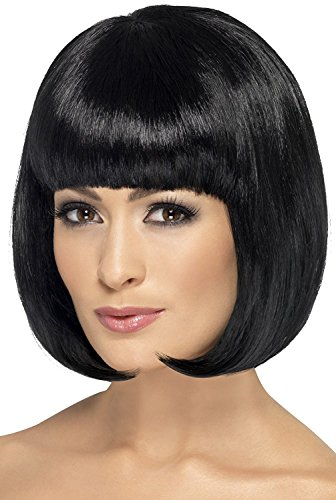 Smiffy's Women's Short Black Bob with Fringe, 12 inch, One Size, Partyrama Wig, 42389