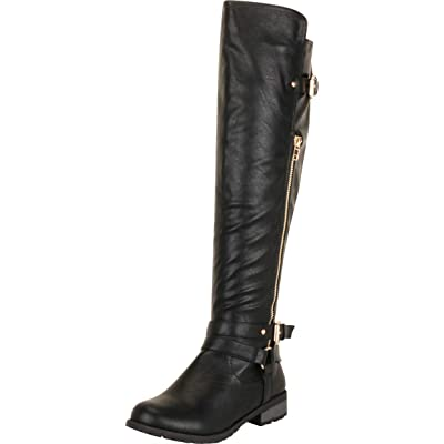 Cambridge Select Women's Crisscross Strappy Zipper Moto Riding Chunky Block Low Heel Over The Knee Boot | Over-the-Knee