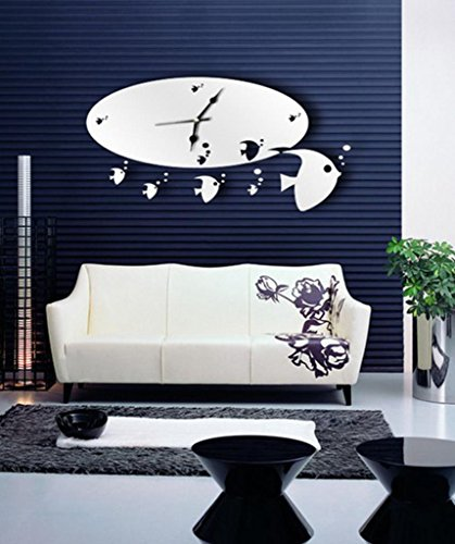 ALVA DIY Mirror sea fish Wall Sticker Clock animals home Decoration#WC52 Fish Animal Wall Clock