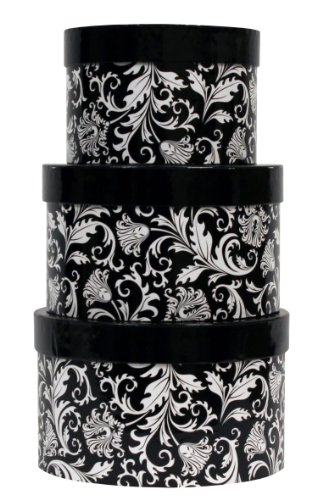 Premier Packaging AMZN-41153 3-Piece Nested Decorative Box Set, Damask by Premier Packaging