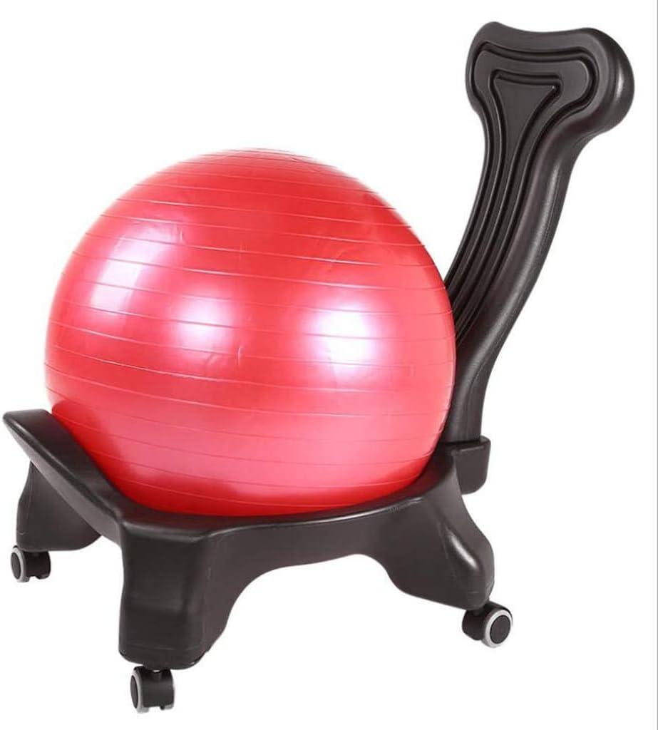 ZHANGKANG Ball Chair Equilibrio, Ayuda Trasera for Home Office y, Pelota de Ejercicio, Bomba, Asiento Desmontable y bloqueable Volver Rueda Negro + Yoga Bola Color al Azar