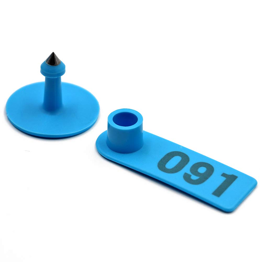 MACGOAL Sheep Ear Tags Numbered Ear Tags for Goats 001-100 Plastic Livestock Ear Tags for Sheep and Goats Pigs Hogs (Blue) by MACGOAL