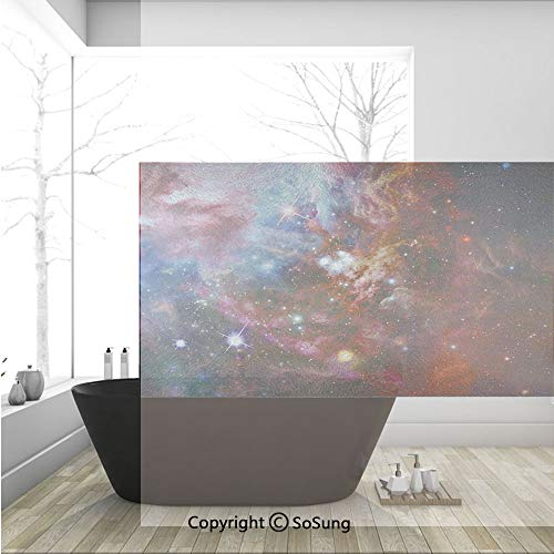 3D Decorative Privacy Window Films,Space Nebula with Star Cluster in the Cosmos Universe Galaxy Solar Celestial Zone,No-Glue Self Static Cling Glass film for Home Bedroom Bathroom Kitchen Office 36x24 -