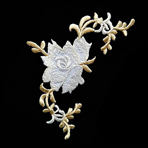 Sticker Iron (1 Pieces Flower Iron On Patches Embroidery Rose Applique Patches for DIY Dress Bag Shoes Pillow Curtain (Creamy-white))