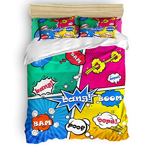 Arts Language Home Duvet Cover Set Queen Size for Kids/Adults/Teens Pop Art Cartoon Comic Soft 4 Pcs Bedding Set with Duvet Cover, Fitted Sheet, Pillowcases]()