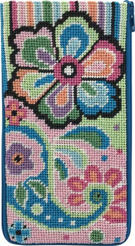 Stitch & Zip Eyeglass Case Needlepoint Kit- Pastel Floral Paisley
