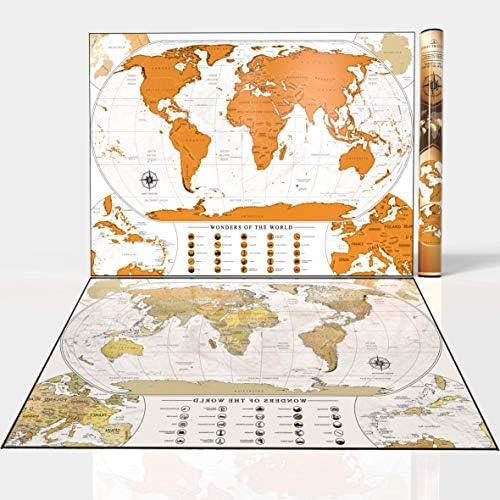 Habit Trotter - Mapa del mundo con detalles. con las maravillas del mundo y banderas, regalo personalizado premium para cualquier viajer (Blanco): Amazon.es: Oficina y papelería