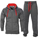 OOPS OUTLET Men's Gym Contrast Jogging Full Tracksuit Hoodies Fleece Joggers Set X-Large Charcoal/Red