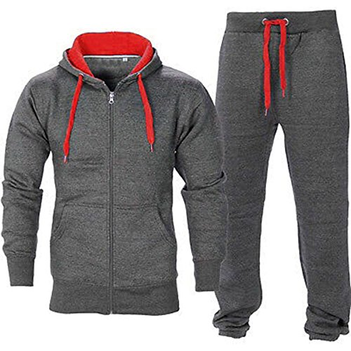 (OOPS OUTLET Men's Gym Contrast Jogging Full Tracksuit Hoodies Fleece Joggers Set X-Large Charcoal/Red)