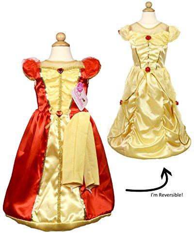 [My Princess Academy Girls Elegant Costume Reversible Fairy Tale Dress Red and Gold Large] (Red Indian Princess Costume)