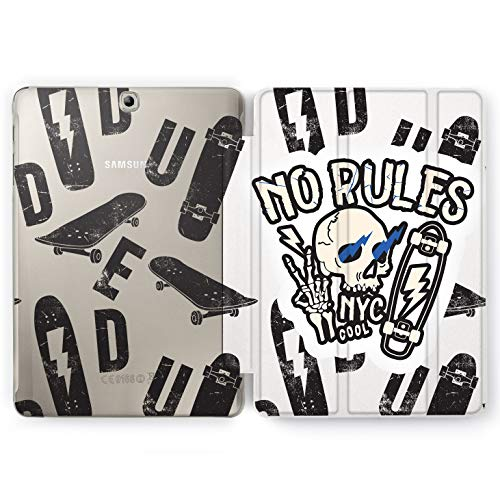 Wonder Wild No Rules Samsung Galaxy Tab S4 S2 S3 A E Smart Stand Case 2015 2016 2017 2018 Tablet Cover 8 9.6 9.7 10 10.1 10.5 Inch Clear Design Skull Flash Skate NYC Cool Ride Or Die Extreme New -