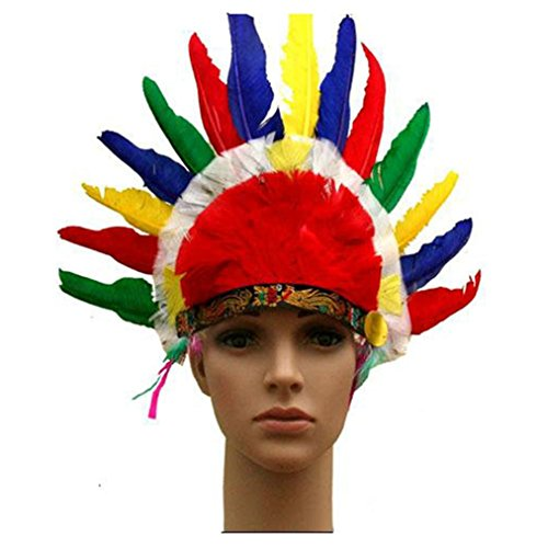 Adult Feather Headdress Native American Indian Costumes for Thanksgiving Day Party (Halloween Cstume)