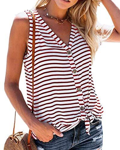 - Daomumen Womens Button Down Tank Tops Tie Knot Casual Knit Sleeveless Henley Shirts Summer Blouse