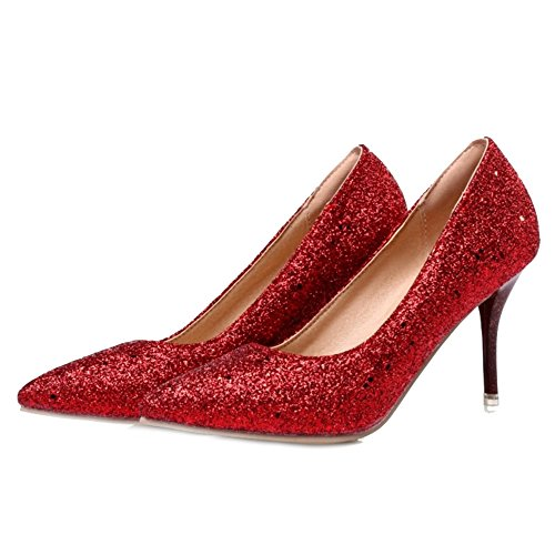 SJJH Elegant Women Court Shoes with Bling Maerail and Pointed Toe Thin Heel Beatiful Wedding Shoes and Sexy Working Shoes for Women Red rQetaMape