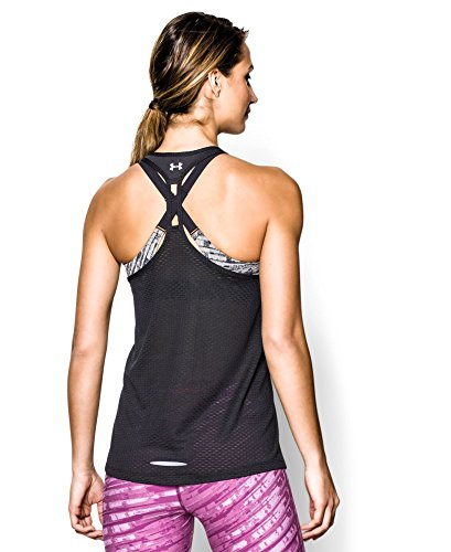 Under Armour Women's UA Fly-By Stretch Mesh Tank Large Black