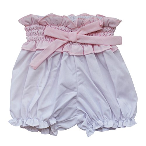 Carriage Boutique Baby Girl Panty Diaper Covers - White Bloomers with Pink Bow, 6M ()