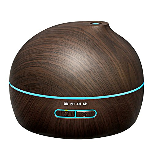 VicTsing 300ml Essential Oil Diffuser Ultrasonic Aroma Diffuser Wood Grain Humidifier with 7 Color LED Lights for Office Home...