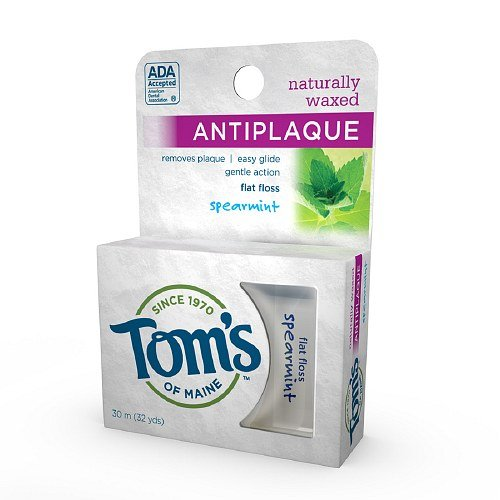Antiplaque Flat Spearmint (Tom's of Maine Naturally Waxed Anti-Plaque Flat Floss, Spearmint 32 yd (3 Pack))