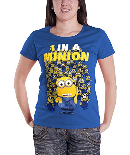 Despicable Me 1 In a Minion Official Womens New Blue Skinny Fit T Shirt