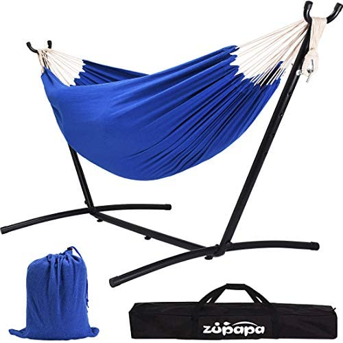 Zupapa Double Hammock with Stand, Accommodates 2 People, 550 Pound Capacity Portable Perfect for Garden, Deck, Yard – Carrying Case Included Royal Blue