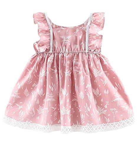 DORAMI Baby Girls Short Sleeve Princess Flower Printing Dress (Pink, 3T (Tag 11))